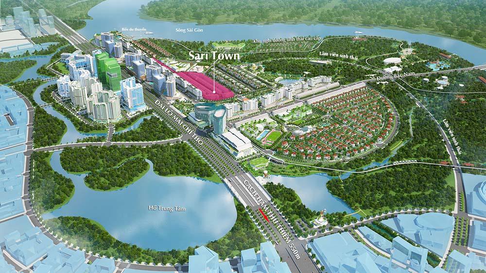 Vị trí khu nhà phố Sari Town trong khu đô thị Sala Đại Quang Minh