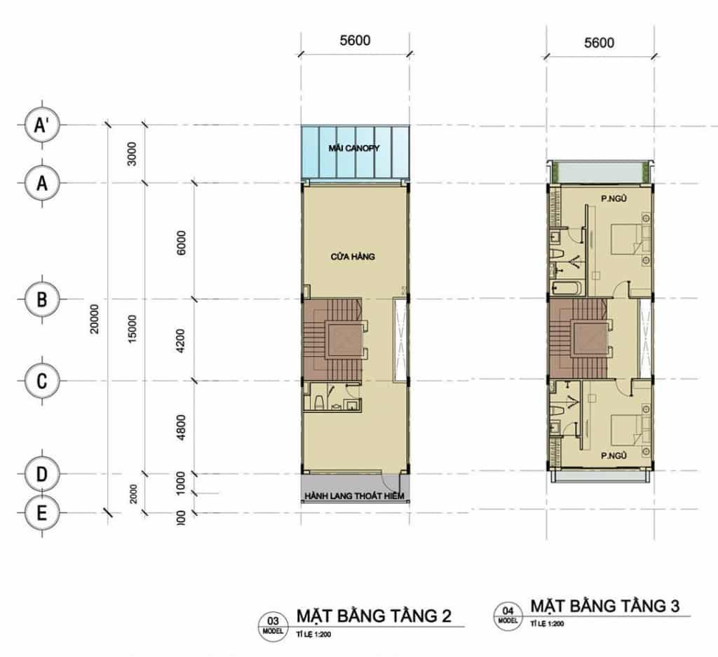 Tầng 2 và tầng 3 nhà phố Sari Town sala