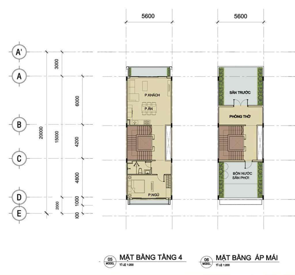 Tầng 4 và áp mái nhà phố Sari Town Sala