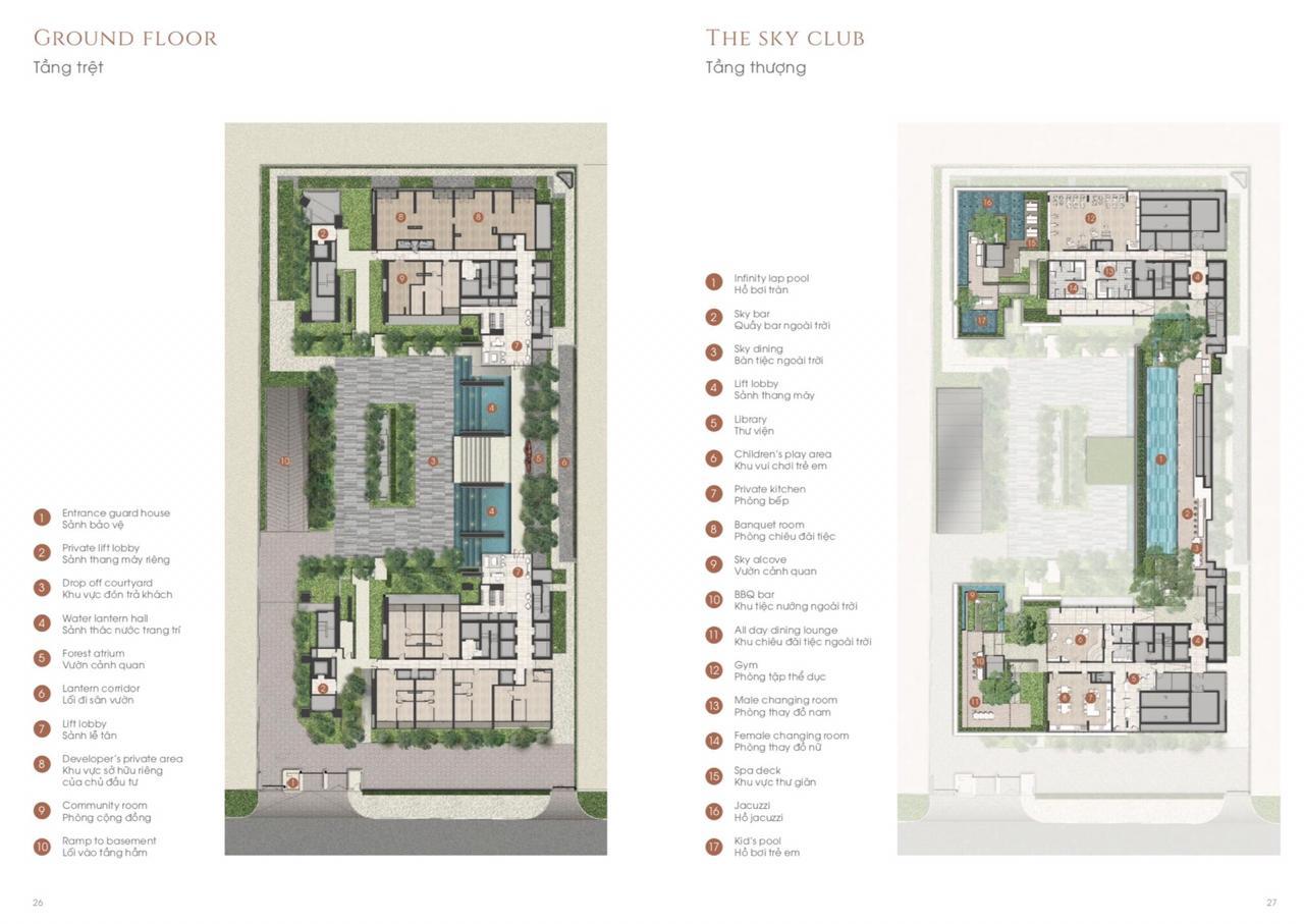 Mặt bằng tầng tiện ích (tầng 26) của dự án căn hộ hạng sang The Marq quận 1