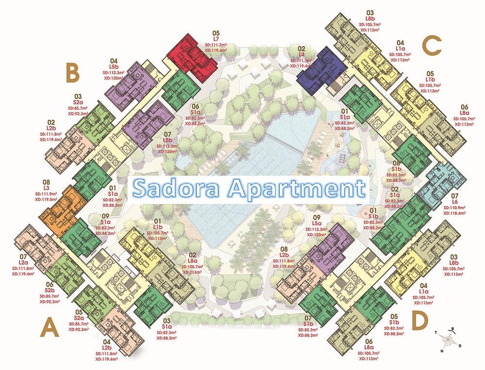 Mặt bằng căn hộ Sadora, khu đô thị Sala, Quận 2